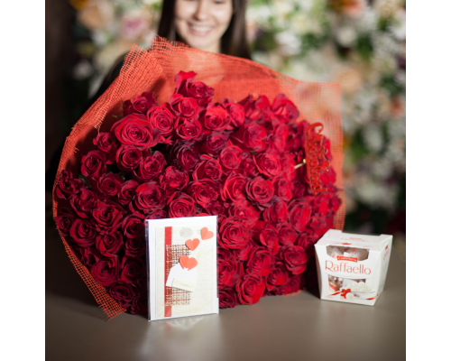 101 red roses + Raffaello as a gift