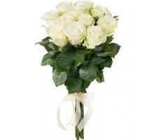 11 белых голландских роз 70 см