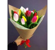 15 multicolored tulips
