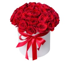 35 red roses in box