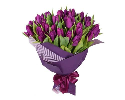 45 purple tulips