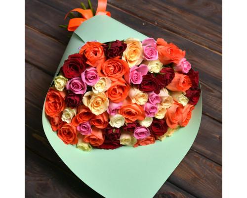45 multicolored roses