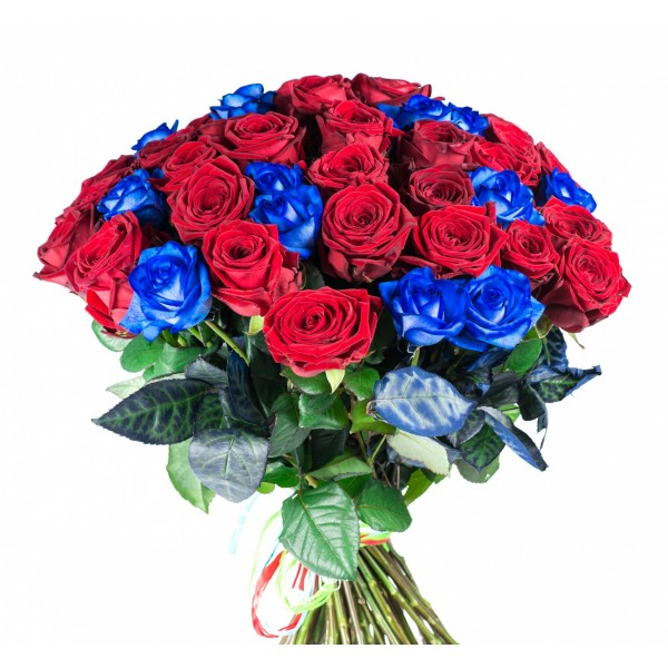 51 красная и синяя роза