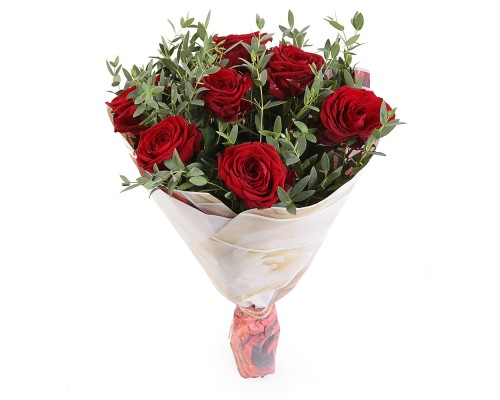7 red roses with eucalyptus