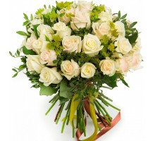 35 cream roses with greenery